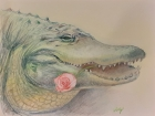 Alligator with Rose