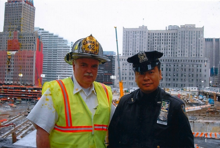 Allen Lau in uniform @Ground Zero with Fire Chief Battalion 42